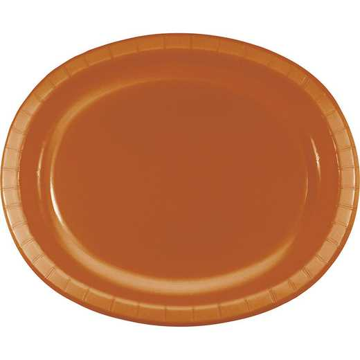 DTC323387OVAL: CC Pumpkin Spice Orange Oval Plates - 24 Count