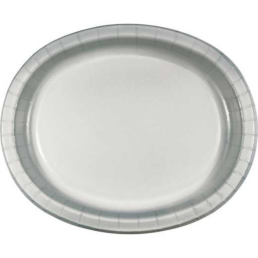 DTC433281OVAL: CC Shimmering Silver Oval Plates - 24 Count