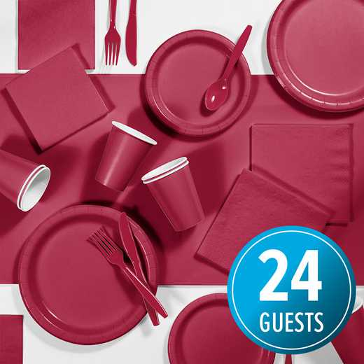 DTC3122C2A: CC Burgundy Red Party Supplies Kit, 24 ct