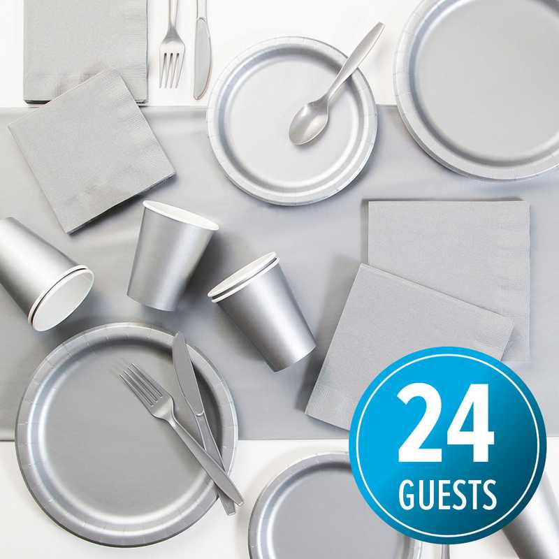 DTC3281X2A: CC Shimmering Silver Party Supplies Kit, 24 ct