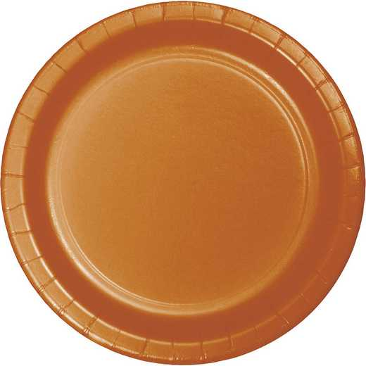 323386: CC Pumpkin Spice Orange Paper Plates - 24 Count