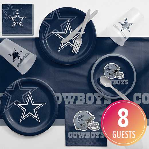 DTC9509C2A: CC Dallas Cowboys Game Day Party Supplies Kit 8ct
