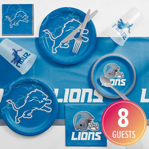 DTC9511C2A: CC Detroit Lions Game Day Party Supplies Kit 8ct
