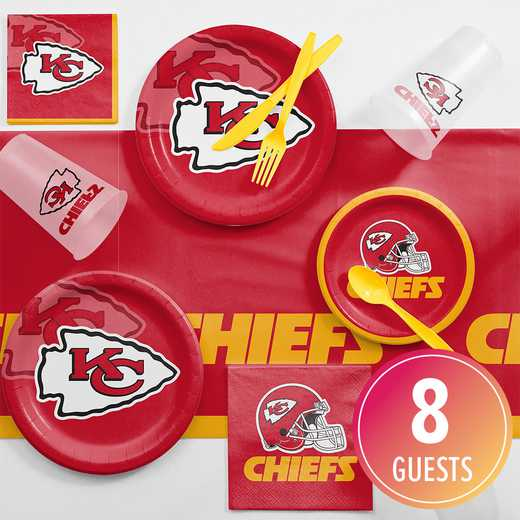 DTC9516C2A: CC Kansas City Chiefs Game Day Party Supplies Kit 8ct