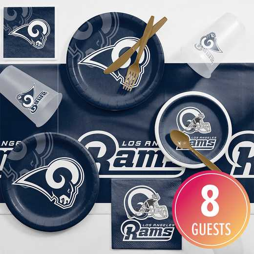 DTC9529C2D: CC Los Angeles Rams Game Day Party Supplies Kit 8ct