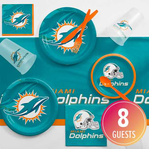 DTC9517C2A: CC Miami Dolphins Game Day Party Supplies Kit 8ct