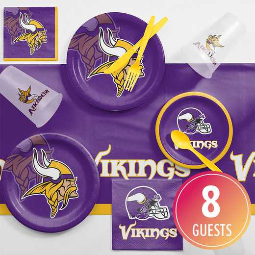 DTC9518C2A: CC Minnesota Vikings Game Day Party Supplies Kit 8ct