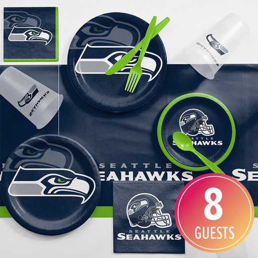 DTC9528C2A: CC Seattle Seahawks Game Day Party Supplies Kit 8ct