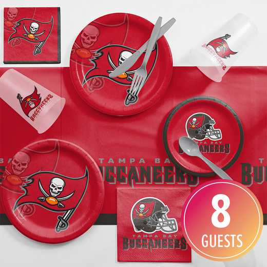 DTC9530C2A: CC Tampa Bay Buccaneers Game Day Party Supplies Kit 8ct