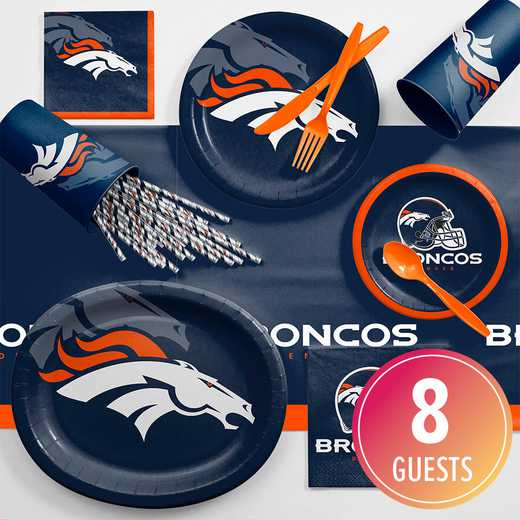 DTC9510C2C: CC Denver Broncos Ultimate Fan Party Supplies Kit 8ct