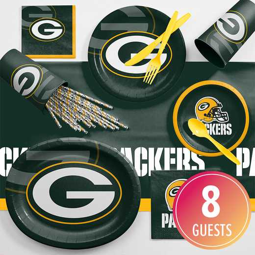 DTC9512C2C: CC Green Bay Packers Ultimate Fan Party Supplies Kit 8ct