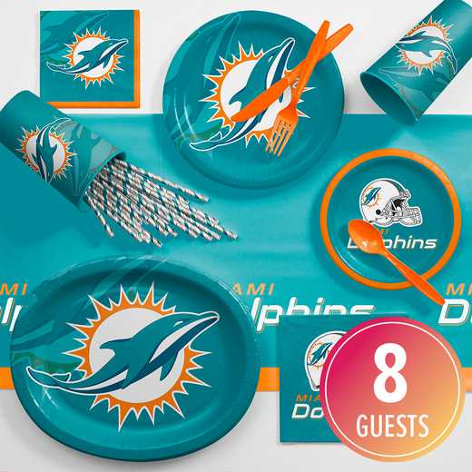 DTC9517C2C: CC Miami Dolphins Ultimate Fan Party Supplies Kit 8ct