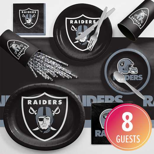 DTC9523C2C: CC Oakland Raiders Ultimate Fan Party Supplies Kit 8ct