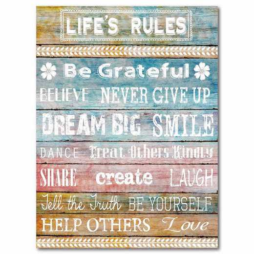 WEB-T857-18x24: CM Life rules  Canvas  - 18x24