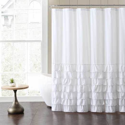 ML3-SHC-7272-I2-WHITE: VCNY White Ruffle Shower Curtain