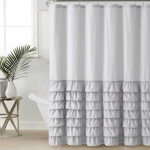 ML3-SHC-7272-IN-GREY: VCNY Gray Ruffle Shower Curtain