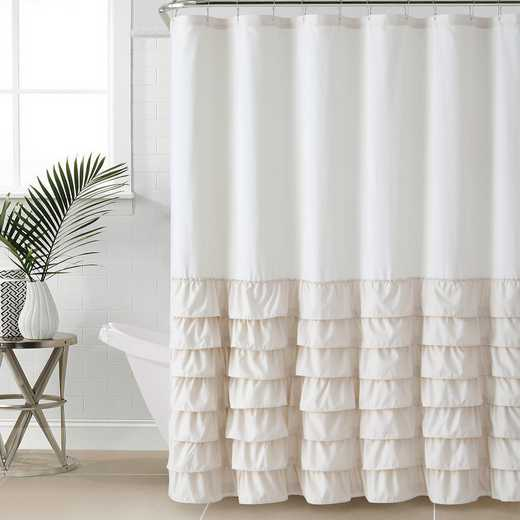 ML3-SHC-7272-IN-TAUPE: VCNY Taupe Ruffle Shower Curtain