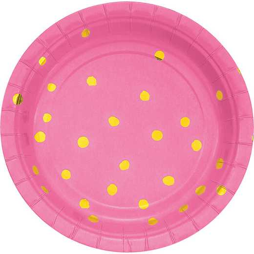 DTC329951PLT: CC Candy Pink and Gold Foil  Dess Plates - 24 Ct