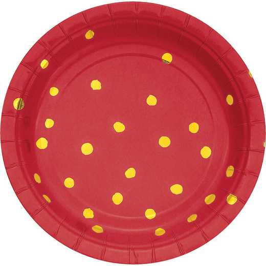 DTC329940PLT: CC Classic Red and Gold Foil  Dess Plates - 24 Ct