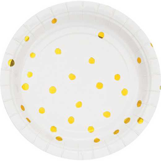 DTC329956PLT: CC White and Gold Foil  Dess Plates - 24 Ct