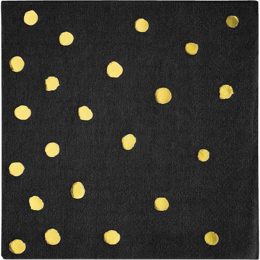DTC329931BNAP: CC Black and Gold Foil  Beverage Napkins - 48 Ct