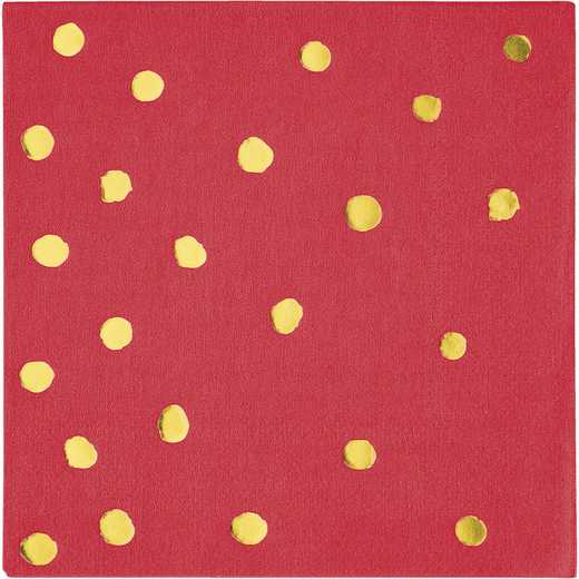 DTC329939BNAP: CC Classic Red and Gold Foil  Beverage Napkins - 48 Ct