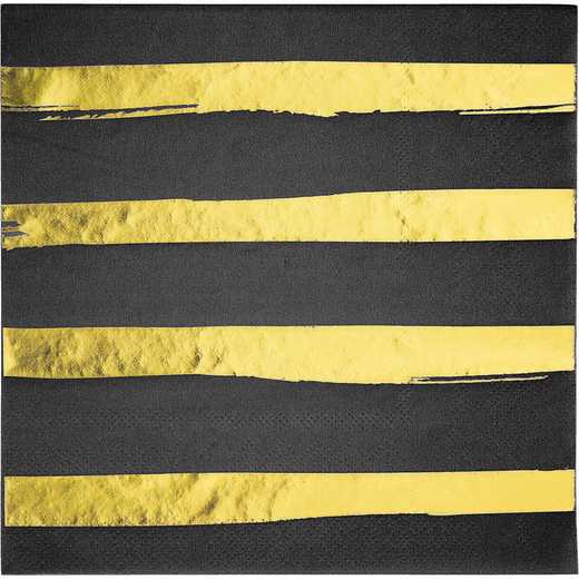 DTC329934NAP: CC Black and Gold Foil Striped Napkins - 48 Ct