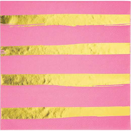DTC329952NAP: CC Candy Pink and Gold Foil Striped Napkins - 48 Ct