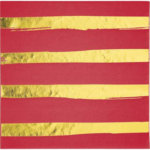 DTC329942NAP: CC Classic Red and Gold Foil Striped Napkins - 48 Ct