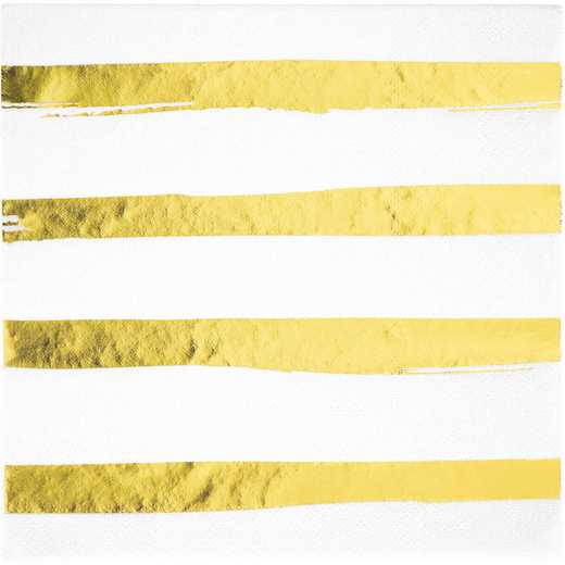DTC329957NAP: CC White and Gold Foil Striped Napkins - 48 Ct