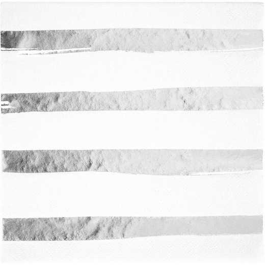 DTC329937NAP: CC White and Silver Foil Striped Napkins - 48 Ct