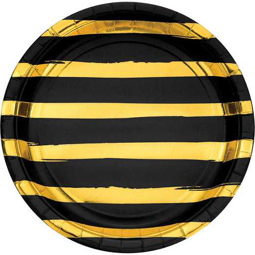 DTC329933DPLT: CC Black and Gold Foil Striped Paper Plates - 24 Ct