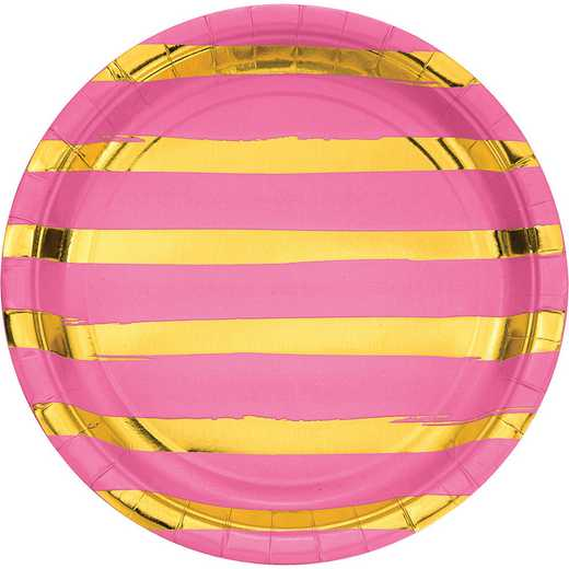 DTC329953DPLT: CC Candy Pink and Gold Foil Striped Paper Plates - 24 Ct