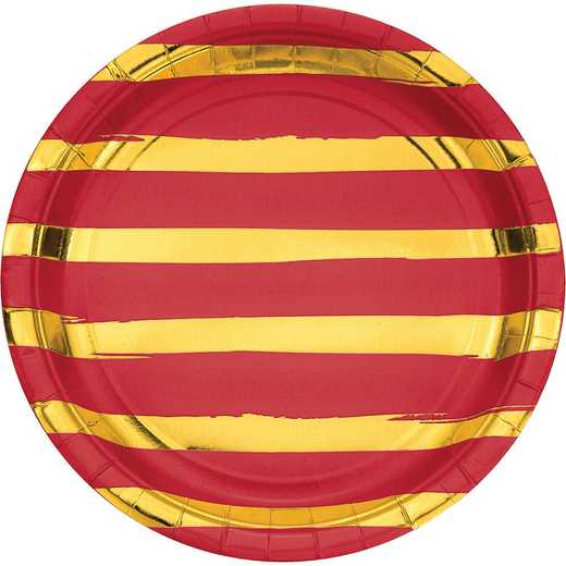 DTC329941DPLT: CC Classic Red and Gold Foil Striped Paper Plates - 24 Ct