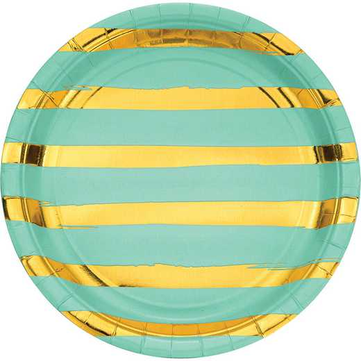 DTC329949DPLT: CC Fresh Mint Green/Gold Foil Striped Paper Plates - 24 Ct