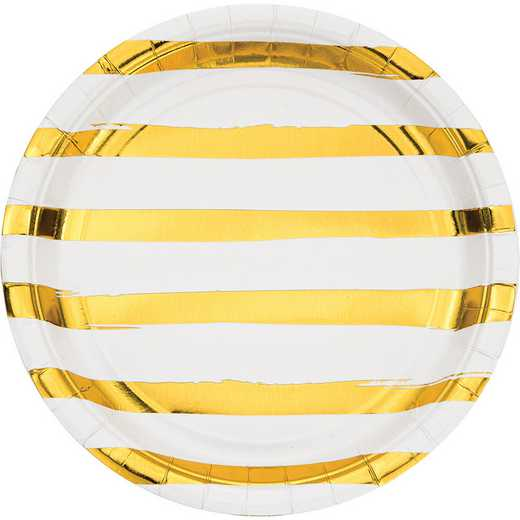 DTC329958DPLT: CC White and Gold Foil Striped Paper Plates - 24 Ct