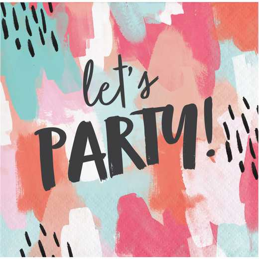 "DTC330007BNAP: CC Brush Strokes ""Lets Party"" Beverage Napkins"