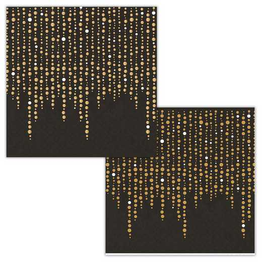 DTC336732BNAP: CC Black and Glittering Gold Foil s Beverage Napkins