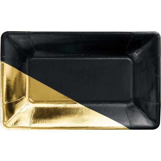 DTC336722APLT: CC Black and Gold Foil Rectangular Paper Plates