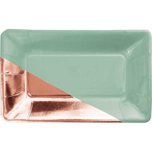 DTC336723APLT: CC Mint and Rose Gold Foil Rectangular Paper Plates