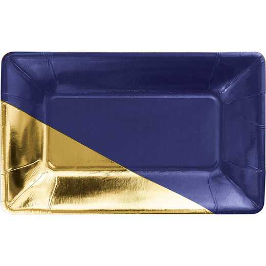 DTC336725APLT: CC Navy and Gold Foil Rectangular Paper Plates