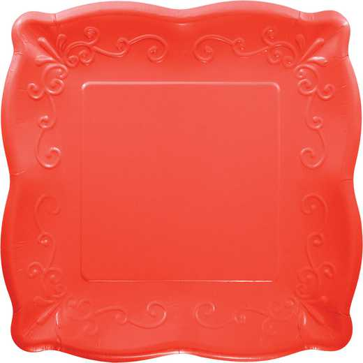 DTC333399PLT: CC PLT7 SQ EMB DC 6/8CT CORAL RED