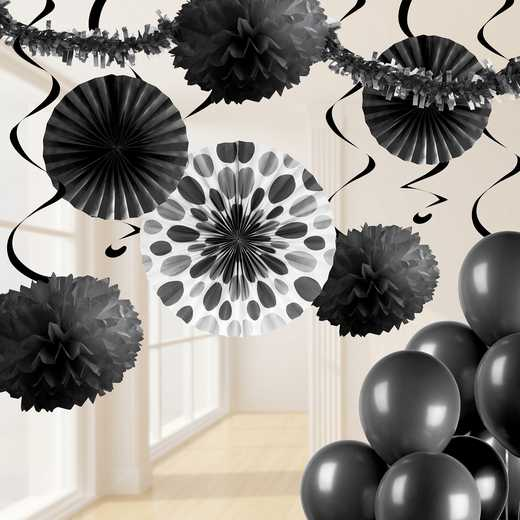 DTCBLACK1A: CC Black Party Decorations Kit