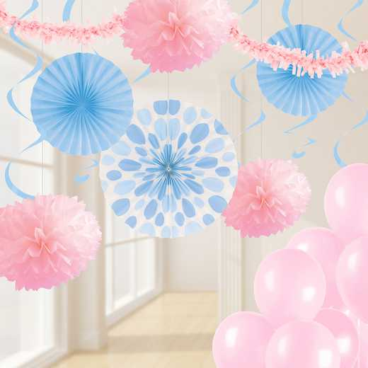 DTCPNKBL1A: CC Pastel Pink and Blue Party Decorations Kit