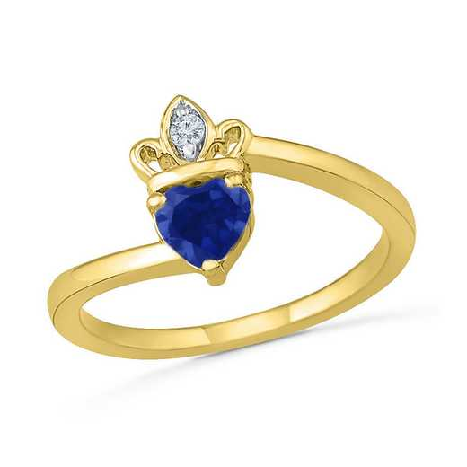 10K Yellow Gold Created White & Blue Sapphire Crown Ring