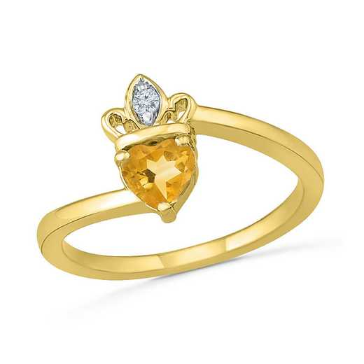10K Yellow Gold Created White Sapphire & Citrine Crown Ring