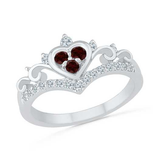 10K White Gold Created White Sapphire & Garnet Heart Ring