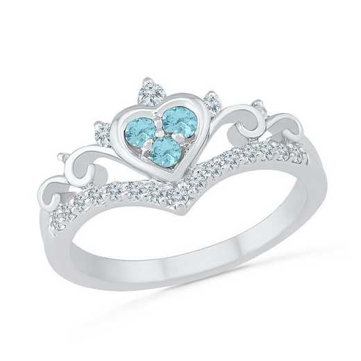 10K White Gold Created White Sapphire & Aquamarine Heart Ring