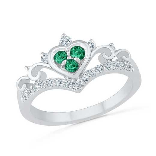 10K White Gold Created White Sapphire & Created Emerald Heart Ring