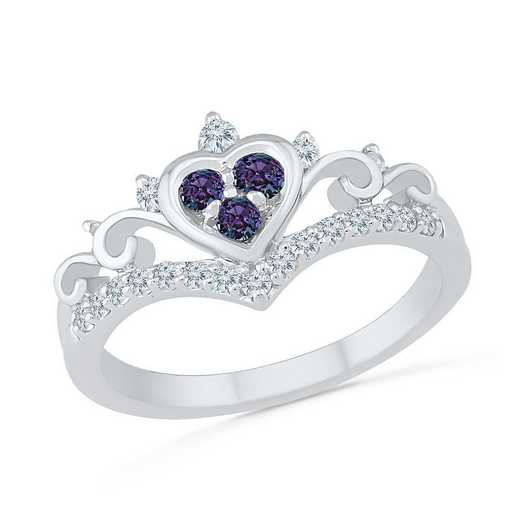 10K WHITE GOLD WITH CREATED WHITE SAPPHIRE & CREATED ALEXANDRITE FASHION RING